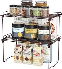 kitchen cabinet storage containers stackable cabinet shelf kitchen cabinet organizers and storage 2 pack pantry shelves organizer with guardrails design for safely storing kitchen
