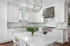 Lantern Table L L Shaped Kitchen With Gray And White Marble Slab Backsplash
