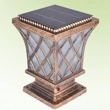 Outdoor Pillar Lights Asian Style Antique Bronze 7 Inchs Wide Solar Led Outdoor Pillar