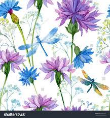 seamless pattern watercolor blue flowers dragonflieswallpaper
