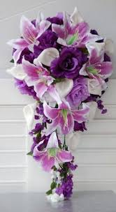 Violet Wedding Flowers - wedding bouquet with purple flowers cala lillies and roses the