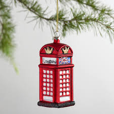 glass london phone booth ornament harry potter christmas