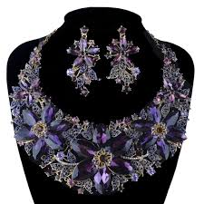 colored necklace set images Statement necklace set wedding party purple color rhinestone jpg