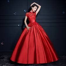 Chinese Wedding Dress Floral Lace Short Sleeve Mandarin Collar Chinese Red Wedding Gown