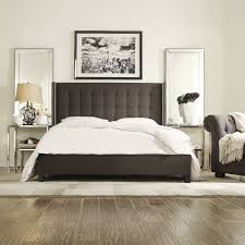 chelsea lane arundel upholstered wingback platform bed hayneedle