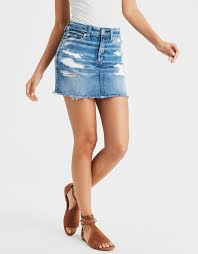 denim skirt ae ne x t level high waisted festival denim skirt broken glass
