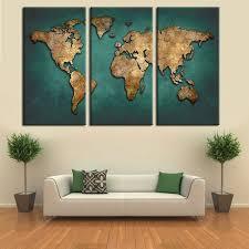 le de bureau vintage carte du monde toile peinture murale décor à la maison vintage grand