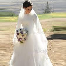 Wedding Dresses Discount Elegant Muslim Wedding Dresses High Neck Half Sleeves Appliques