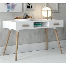 bureau console bureau console 2 tiroirs narvik blanc chene