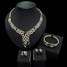 necklace bracelet earring ring images Yulaili black golden beautiful rhinestone brazil fashion alloy jpg