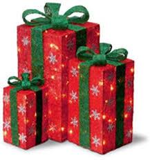 Present Decoration Northlight Set Of 3 Lighted Glitter Gift Box Present