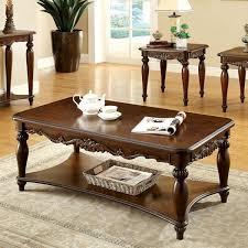 bunbury classic style cherry finish 3 piece coffee u0026 end table set