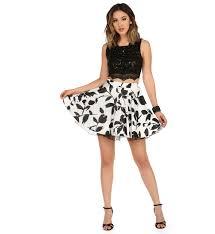 mindy white black floral two piece dress semi formal