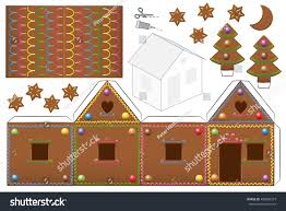 gingerbread house sweet candy decor print stock vector 488802379