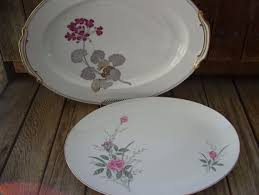 golden china pattern vintage pink roses oval platter floral golden pattern