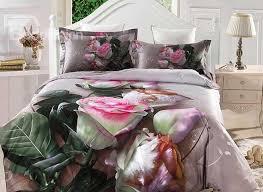 Pink Rose Duvet Cover Set 3d Pink Rose And Pearl Printed Cotton 4 Piece Bedding Sets Duvet