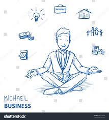 organizing business happy young man business suit sitting stock vector 387576298