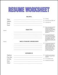 printable resume worksheet free http jobresumesample com 1992