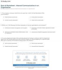printable organization quiz for students quiz worksheet internal communication in an organization study com