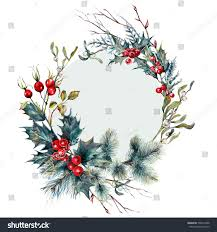 watercolor christmas forest gifts wreath made stock illustration