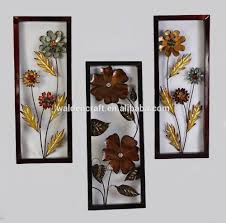 metal floral wall art for home and office decor framed blue