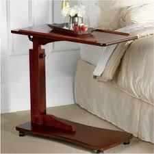 bed table on wheels walnut bedside rolling work table hospital bed tray laptop desk