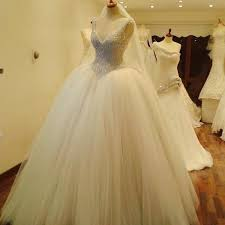 wedding dress with bling bling bling beading v neck organza gowns wedding dress