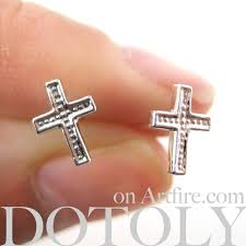 plastic earrings small cross shaped stud earrings non allergenic plastic post