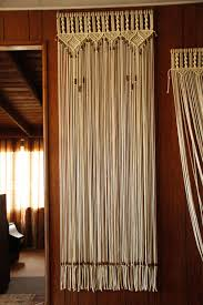 bead fringed door curtain in macrame with tie backs