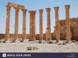 syrian desert ruins in the syrian desert in the ancient city of palmyra syria