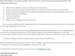 Resume To Work Usk Kimya A S Linkedin
