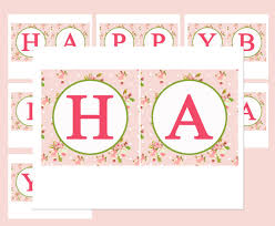 Shabby Chic Banner by Items Similar To Floral Birthday Bunting Banner Printable