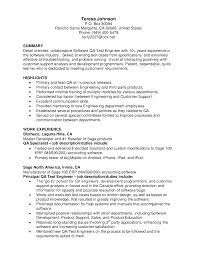 Software Experience Resume Sample by Resume Format For Software Tester Cover Letter Template For Test