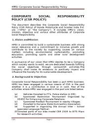 h m si e social csr policy corporate social responsibility board of directors