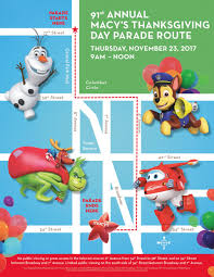 macy s thanksgiving day parade route map 2017