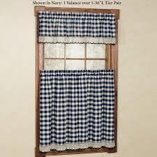 Navy Buffalo Check Curtains Kitchen Design Ideas Diy Valance Window Ideas Contemporary