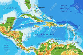 central america physical map central america and caribbean islands physical map royalty free
