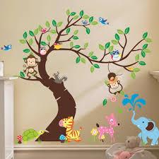 Kids Bedroom Wall Decals Cute Monkey Wall Sticker Zoo Original Animal Wall Arts For Kids Room