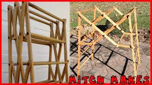 Wooden Clothes Dryer Folding Laundry Drying Rack Youtube