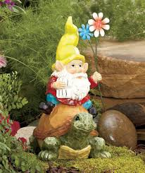 Gnome Garden Decor Gnome Sitting On Turtle Statue Garden Patio Decor Garden Decor