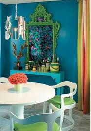 teal decorating ideas dining room with wall art and console table