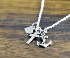 confirmation jewelry faith necklace heart anchor cross charm baptism gift