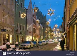 street with christmas decorations in winter landshut lower