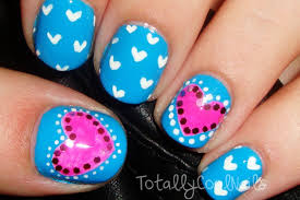 simple pink and blue valentine u0027s day nails short nails youtube