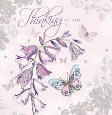 thinking of you flowers noel tatt thinking of you flowers and butterflies card large