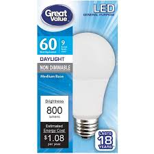 led picture light bulb great value led light bulb 9w 60w equivalent a19 e26 daylight