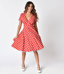 fit and flare dress 1950s style ivory polka dot sleeve flare dress