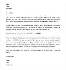 11 employment termination letter templates free sample example