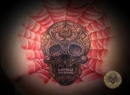 sugar skull spiderweb tat by 2face on deviantart