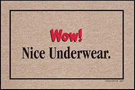 doormat funny amazon com wow nice underwear indoor outdoor doormat funny